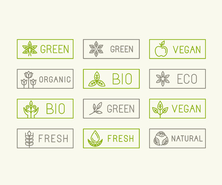Vector set of icons and  design elements for food and product packaging related to green technologies, ecological, natural and fresh symbols - linear icons and badges