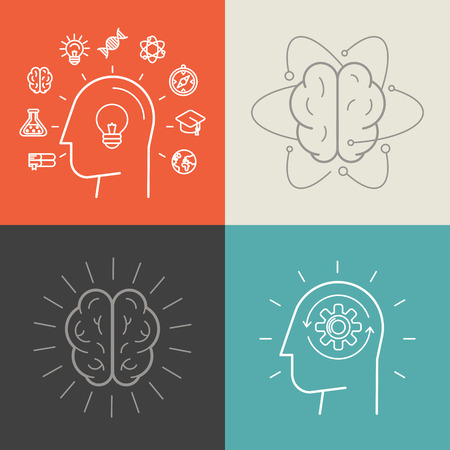 mente: Vector conjunto de ilustraciones y conceptos de educación y de conocimiento en el estilo lineal de moda - los iconos y signos - elementos de diseño infográficas Vectores