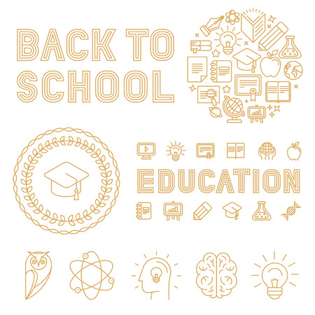 Vector set of infographic design elements, badges and icons in trendy linear style related to school, education, university and knowledge - sign and hand-lettering text