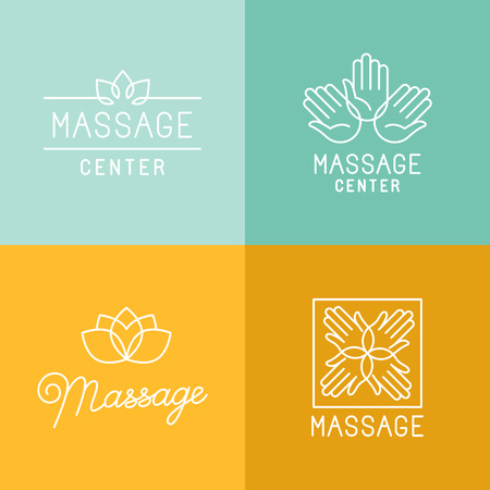 massage symbol: Vector set of trendy linear icons and  design elements related to massage centers and relax - mono line signs and concepts