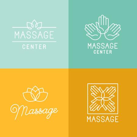 massaggio: Vettore di set di icone di tendenza lineari ed elementi di design legati alla centri massaggi e relax - segni di linea mono e concetti