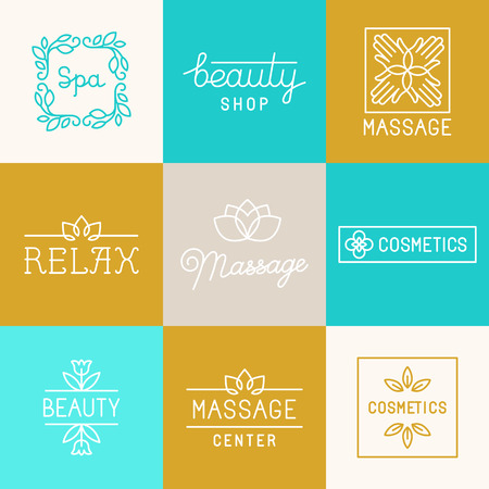massage symbol: Vector set of trendy linear icons and  design elements related to beauty shops, massage centers, spa and relax - collection of mono line labels and badges