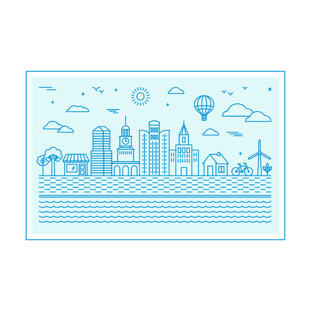 ciudad: Ilustración vectorial con el horizonte de la ciudad en el estilo lineal de moda - concepto abstracto ciudad moderna con iconos en colores azules