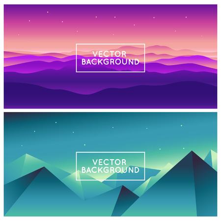 illustraiton: Vector abstract landscapes - design template in bright gradient coors - with copy space for  text - splash screen or banner background