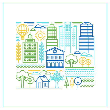 Vector linear city illustration in trendy style - mono line buildings and houses with parks and gardens
