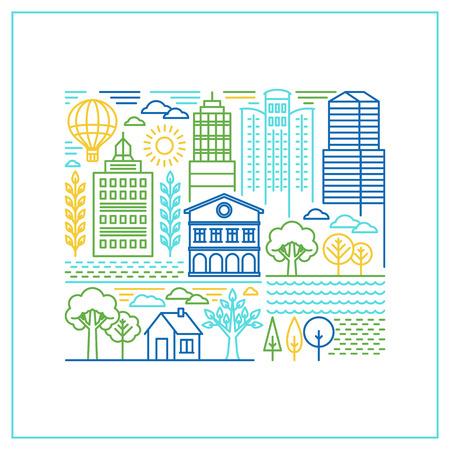 logo batiment: Vector city linéaire illustration dans le style à la mode - les bâtiments de ligne mono et maisons avec parcs et jardins Illustration