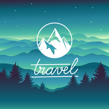 Vector travel concept and logo design element - mountain landscape in siple style and circle badge with summit Çizim