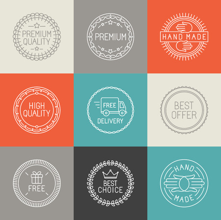 handmade: Vector set of labels, badges and emblems for product packaging in trendy linear style  - design elements and icons - premium quality, best offer and handmade symbols on circle stamps
