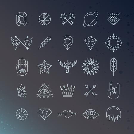 문신의 개념과 로고 디자인 요소 - 마법과 연금술 표지판 및 기호 트렌디 한 선형 스타일의 벡터 집합