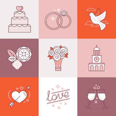flower logo: Vector set of linear icons and illustrations related to love, wedding, valentines day and marriage - collection of signs and design elements for wedding invitations Illustration
