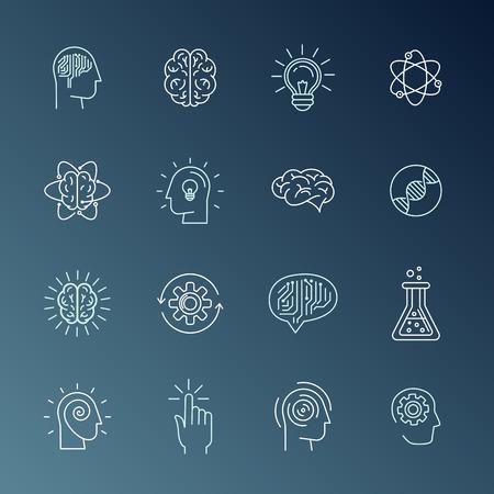 persoonlijke groei: Vector lineaire iconen en tekenen met betrekking tot de menselijke geest, persoonlijke groei, geestelijke gezondheid, idee genereren en denken - set van abstracte begrippen en logo design elementen in mono lijn stijl Stock Illustratie