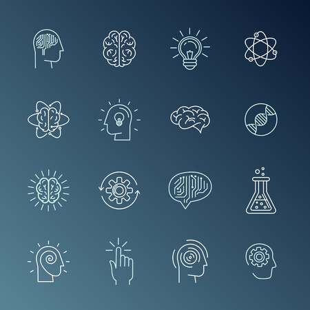 mind set: Vector linear icons and sign related to human mind, personal growth, mental health, idea generating and thinking - set of abstract concepts and logo design elements in mono line style