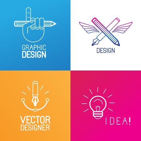 creador: Vector conjunto de elementos de diseño del logotipo y plantillas en el estilo de moda lineal - gráficos emblemas de ocupación diseñador, proceso creativo y signos independientes Vectores