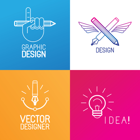 designer labels: Vector set of logo design elements and templates in trendy linear style - graphic designer occupation emblems, creative process and freelance signs