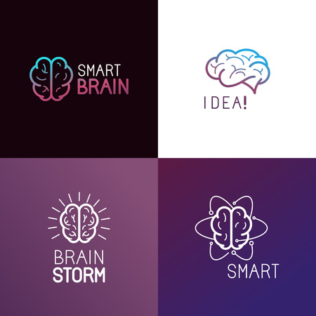 cognicion: Vector conjunto de elementos de diseño del logotipo y conceptos abstractos en el estilo de moda lineal relacionada con la lluvia de ideas, la idea de generación, el crecimiento personal y el control mental - iconos de línea mono y signos