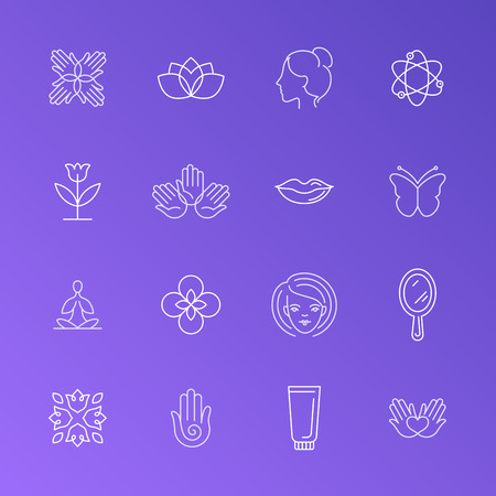 Vector set of trendy linear icons and logo design elements related to beauty shops, massage centers, spa and relax - collection of mono line labels and badges Illustration