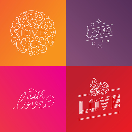 handlettering: Vector set of design elements and hand-lettering text in trendy linear style - love and with love - lettering for postcards, greeting cards and wedding stationery Illustration