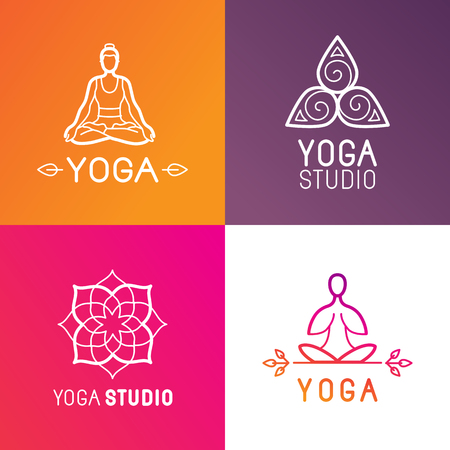 Vector set of logo design elements and templates in trendy linear style  - yoga studio emblems with human body concept and spiritual symbols