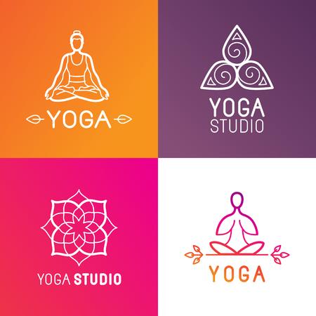 masaje deportivo: Vector conjunto de elementos de diseño del logotipo y plantillas de estilo lineal moda - emblemas estudio de yoga con el concepto de cuerpo humano y símbolos espirituales Vectores