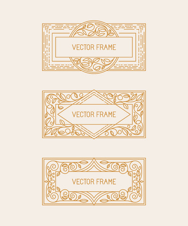 mono: Vector floral frames in mono line style with copy space for text - logo design template Illustration