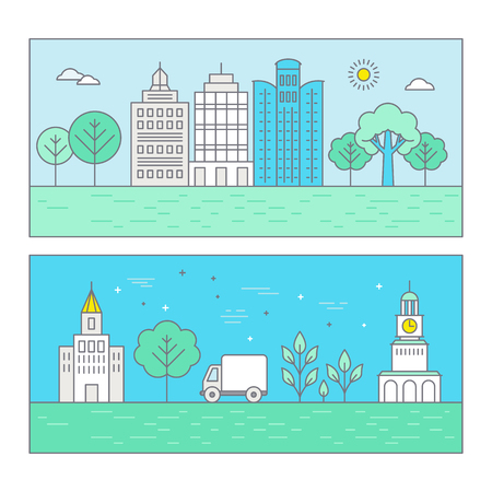 park icon: Vector banner in trendy flat linear style - city landscape illustration with different buildings