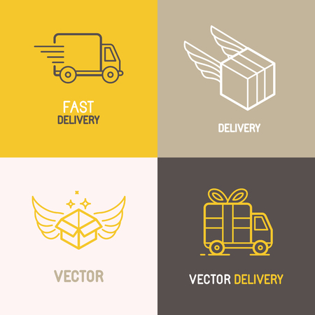 shipping: Vector express delivery service logo design elements in trendy linear style - set of flat trucks and boxes emblems