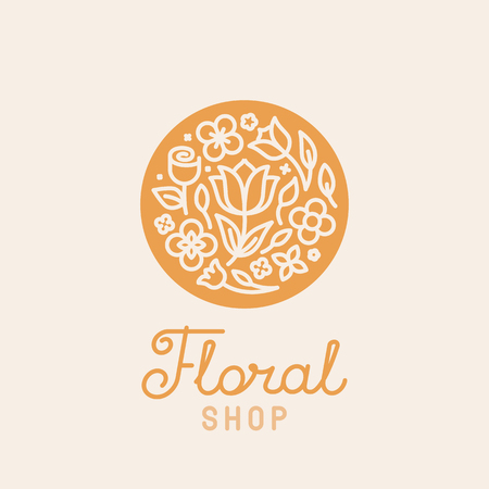 simple logo: Vector simple and elegant logo design template in trendy linear style - abstract emblem for floral shops or studios, wedding florists, creators of custom floral arrangements - circle with flowers and leaves