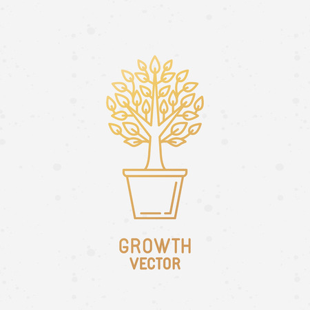 plant pot: Vector abstract growth logo design element in trendy linear style made with golden foil on white background - growing and prospering plant in the pot - process and development concept