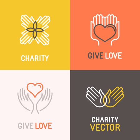 volunteering: Vector charity and volunteer concepts and logo design elements in trendy linear style - emblems and signs for nonprofit and philanthropic organizations and centers