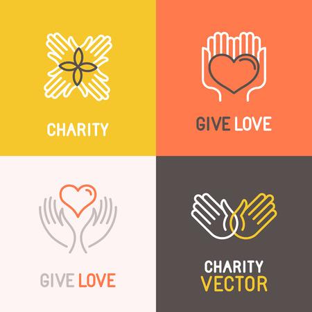 Vector de caridad y voluntariado conceptos y elementos de diseño de logotipo en el estilo lineal de moda - emblemas y signos para las organizaciones sin fines de lucro y los centros y filantrópicas