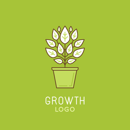 grow: Vector abstract growth logo design element in trendy linear style - growing green plant in the pot - process and development concept Illustration