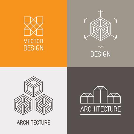 arquitectura: Conjunto de vectores plantillas de diseño en estilo lineal simple moda - emblemas y signos para estudios de arquitectura, diseñadores de objetos, nuevos artistas multimedia y realidad aumentada de nueva creación