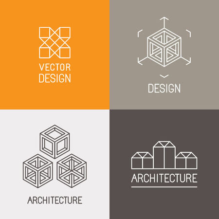 interior design: Vector set design templates in trendy simple linear style - emblems and signs for architecture studios, object designers, new media artists and augmented reality start-ups