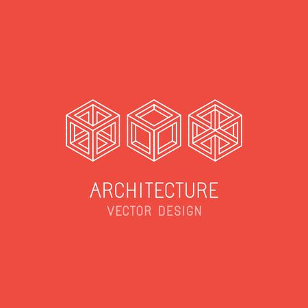 architect: Plantilla de diseño vectorial en estilo lineal simple - emblema y de la ilustración para la tecnología y el desarrollo de aplicaciones, arquitectura del programa, estudio de juegos y el nuevo artista de medios - iconos del cubo de línea mono