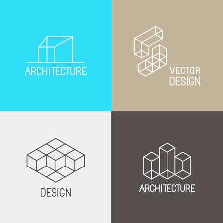 Conjunto de vectores plantillas de diseño en estilo lineal moda simple para estudios de arquitectura, diseñadores de interiores y ambientales - iconos de línea mono y signos Ilustración de vector