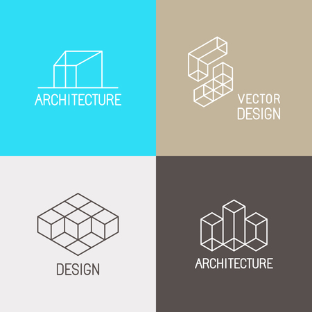 arquitecto: Conjunto de vectores plantillas de diseño en estilo lineal moda simple para estudios de arquitectura, diseñadores de interiores y ambientales - iconos de línea mono y signos