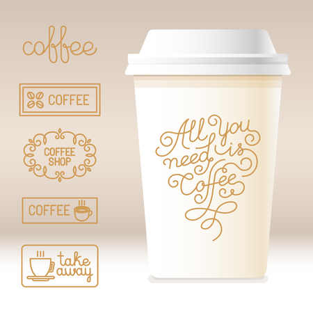 disposable cup: Vector take away coffee cardboard cup with linear design elements - templates for coffee houses and shops and hand lettering in trendy line style - all you need is coffee quote