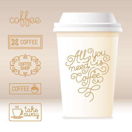 Vektor elvenni kávé karton csésze lineáris design elemek - sablonok kávéházak, üzletek és kézzel betűkkel trendi vonal stílusa - minden amire szüksége van kávé idézettel Illusztráció