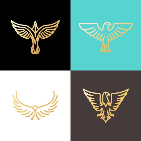 Vector lineaire ontwerpsjablonen gemaakt met gouden folie - adelaars en vogels - abstracte macht en vrijheid symbolen