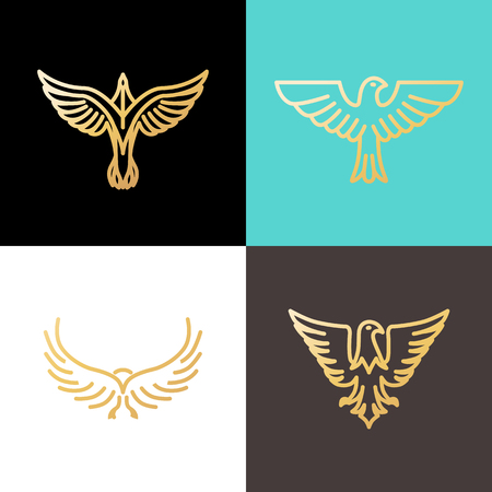 eagle badge: Vector linear design templates made with golden foil - eagles and birds - abstract power and freedom symbols Illustration