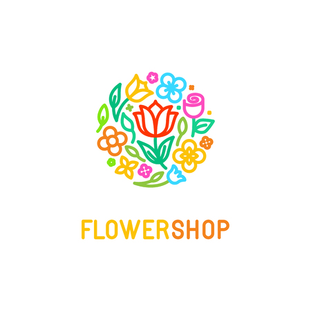 gift shop: Vector simple and elegant   design template in trendy linear style - abstract emblem for floral shop or studio, wedding florist, creator of custom floral arrangements or landscape designer - circle made with flowers and leaves in bright colors
