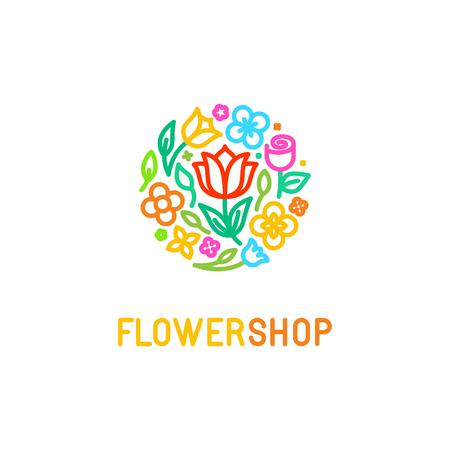 Vector simple y elegante diseño de la plantilla de estilo lineal moda - emblema abstracto para taller o estudio floral, floristería, creador de los arreglos florales de encargo o paisajista - círculo hechos con flores y hojas en colores brillantes Vectores