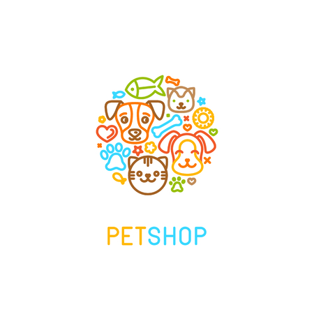 Vector   design template for pet shops, veterinary clinics and homeless animals shelters - circle made with mono line icons of cats and dogs - badge for websites and prints Vectores