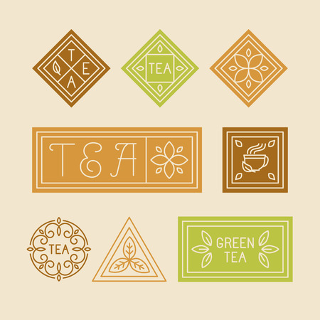 packaging: Vector set of design elements and templates for product packaging of tea and herbal drinks - organic emblems and badges in simple geometric linear style - lettering and icons Illustration