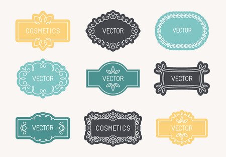 flower logo: Vector set of linear design elements, packaging labels and frames in trendy style for cosmetics and beauty products - abstract templates in mono line style Illustration