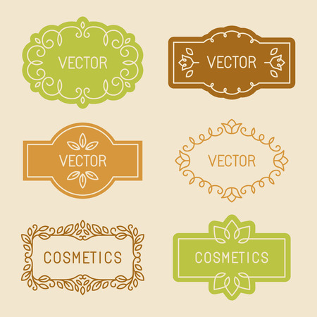 Vector set of linear design elements, packaging labels and frames in trendy style for cosmetics and beauty products - abstract templates in mono line style Ilustracja