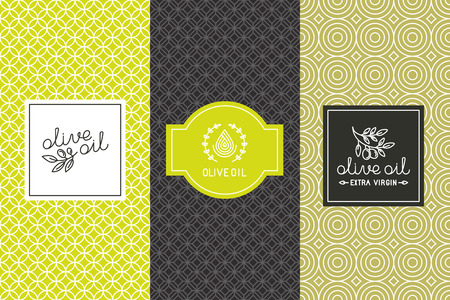 Vector packaging design elements and templates for olive oil labels and bottles - seamless patterns for background and stickers with logos and lettering Vettoriali