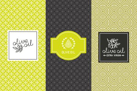 Elementos de diseño de embalaje de vector y plantillas para etiquetas de aceite de oliva y botellas - patrones sin fisuras para el fondo y pegatinas con logotipos y letras Vectores