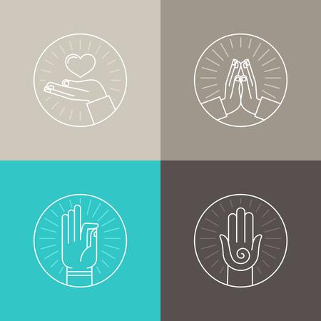 線形アイコンのベクトルを設定に関連する宗教と祈り - 手し、指のサインとシンボル