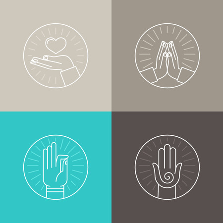 manos orando: Vector conjunto de iconos lineales relacionados con la religión y la oración - manos y señales de los dedos y símbolos